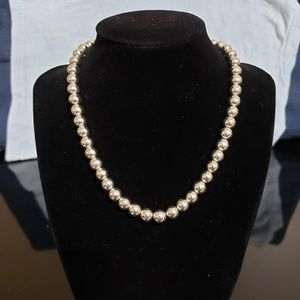 Chaps silver bead necklace